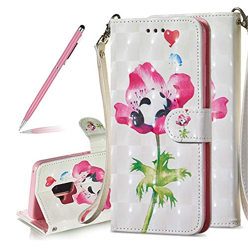 SKYXD New Luxury Painted Premium PU Leather Case for Samsung Galaxy S9 Plus,Fancy 3D Print Flower Panda Pattern Floral Bling Flip Wallet Case Magnetic Closure Kickstand Feature Cover with Wrist Strap