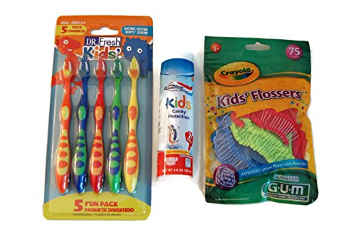 Good Habit dental bundle for kids-3 pack: Toothbrushes, flossers and toothpaste