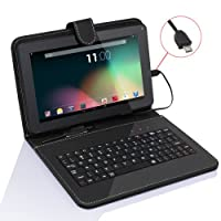 TabSuit 9'' Tablet Folio Keyboard with Stand Universal PU Leather case for Dragon Touch 9'' A13 / MID948B, AKASO KingPad A90 Tablet and more 9'' Tablets by Tabsuit