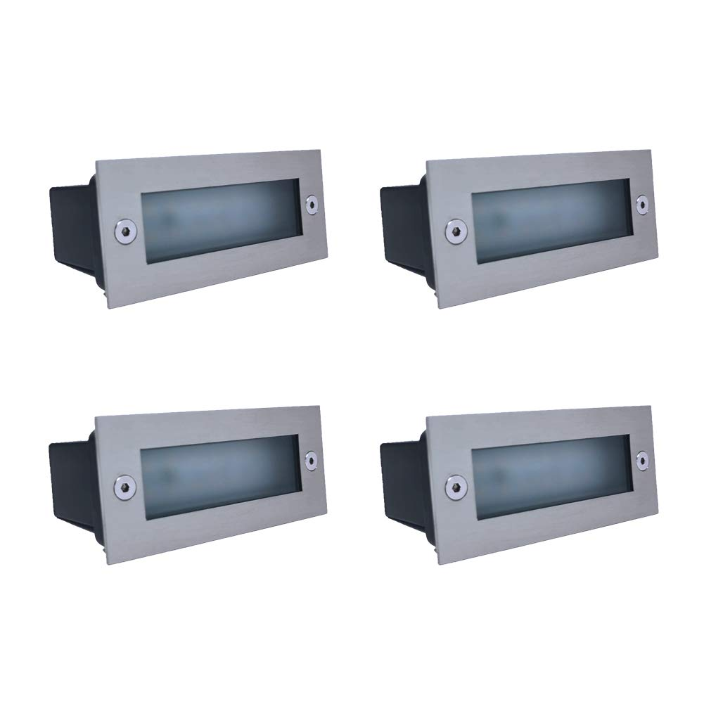 4X LED Stainless Steel Brick Light IP65 Outdoor Garden Recessed Step Wall Lights