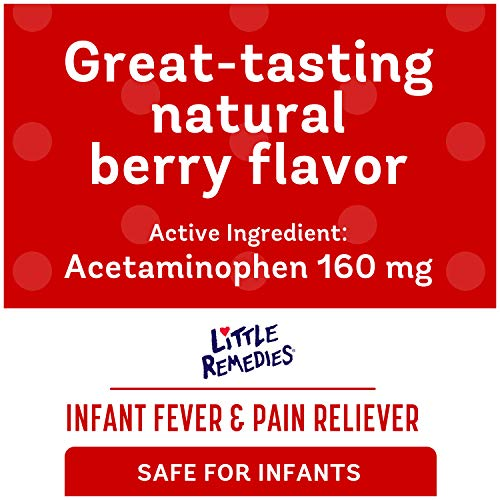 Little Remedies Infant Fever & Pain Reliever withAcetaminophen, Grape, Natural Berry Flavor,2 Fl Oz