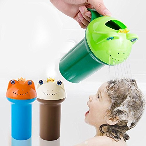 DANMEI Cartoon Frog Prince Baby shampoo tazza con fori di drenaggio Kids Baby child Wash Hair Eye Shield shampoo RINSE Cup Flower pot irrigatore brocca Blue