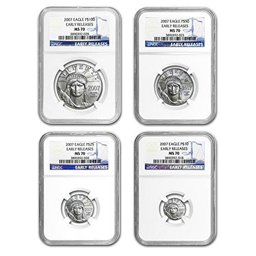 - 2007 4-Coin Platinum American Eagle Set MS-70 NGC (ER) MS-70