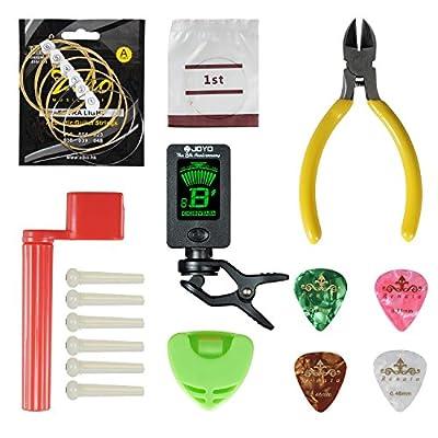Acoustic Guitar Tool,Kit for Guitar Starter with String,Tuner,Cutter, Winder Bridge Pins Picks & Pick Hoder, utility a Set for Change the String