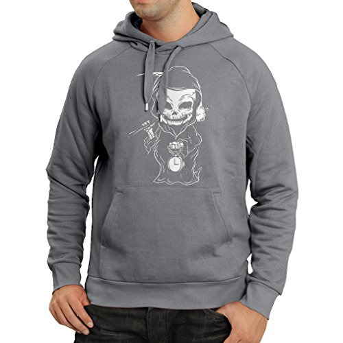 lepni.me Hoodie The Grim Reaper, Death with Sickle Skeleton - Scarry Horror Design (Medium Graphite Multi -