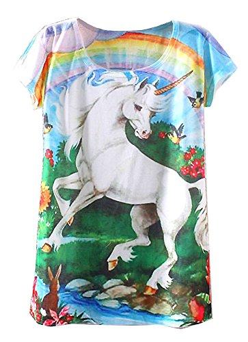 KaiTingu Women's Short Sleeve Unicorn Graphic Print Vintage T Shirt White
