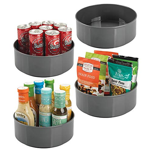mDesign Plastic Lazy Susan Spinning Food Storage Turntable for Cabinet, Pantry, Refrigerator, Countertop – Spinning Organizer for Spices, Condiments, Baking Supplies – 9″ Round, 4 Pack – Charcoal Gray