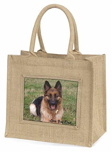 Advanta dad-31bln Deutscher Schäferhund Love You Dad Große Einkaufstasche/Weihnachten Geschenk, Jute, beige/natur, 42x 34,5x 2cm