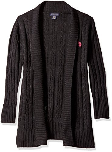 U.S. Polo Assn. Girls' Little Open Front Long Sleeve Cable Knit Cardigan, Black, 6X (Cardigan Long Girls)