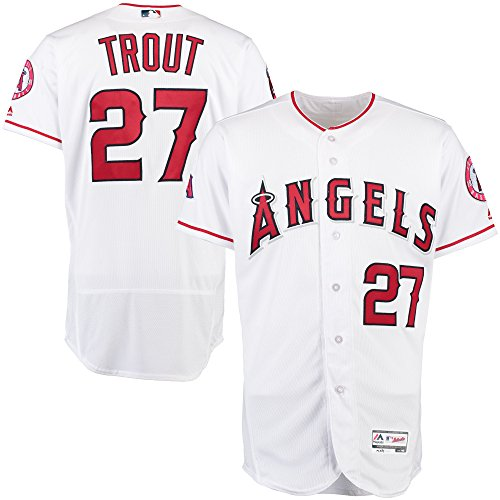 Majestic Athletic Men's Los Angeles Angels #27 Mike Trout Home White Flex Base Baseball Player Jersey - Size 52