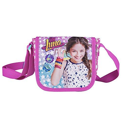 Perletti Disney Soy Luna Umhängetasche - Kleine Umhänge für Kinder mit Frontverschluss - Mädchen Schultertasche für Freizeit und Ausflüge - Rosa und hellblau - 14x15x4 cm Qg3PV0v
