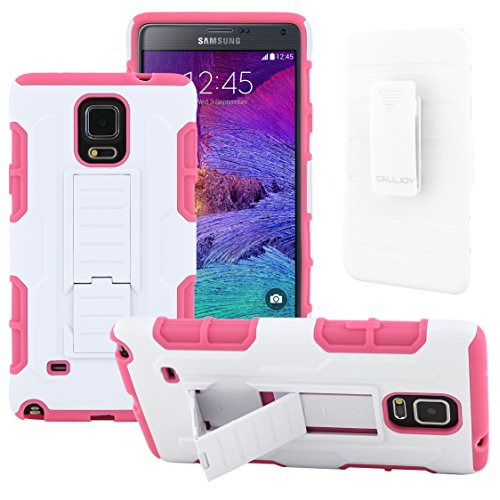 Galaxy Note 4 Case, CellJoy [Robot Armor] Hybrid Kick Stand Case with Belt Clip Holster For Samsung Galaxy Note 4 IV N910, Heavy Duty ProtectionShockproof (White / Pink)