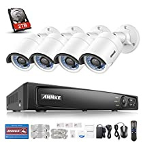 Annke 4-Megapixel (2688 x 1520) Security System 6MP NVR Recorder with 2TB HDD and (4) Network IP Surveillance Cameras, 100ft Night Vision, Intelligent motion detection&Smart email alert