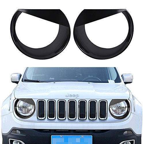 Opar Black Angry Bird Headlight Bezels Cover for 2015 - 2016 Jeep Renegade