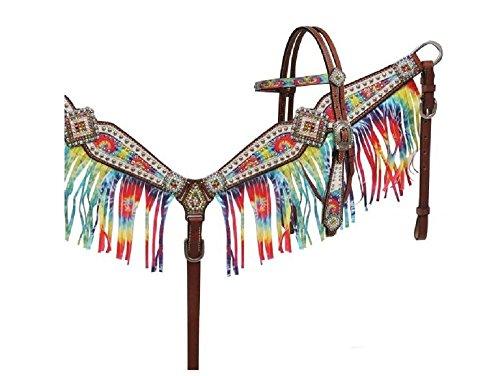 - Showman Rainbow Tie Dye Overlay Rhinestone Conchos Fringe Average Horse Leather Bridle Headstall Breast Collar Reins