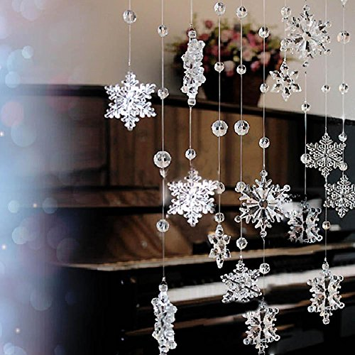 2 Strands Hanging Acrylic Crystal Snowflake Beaded Curtains Room Divider For Home Wedding Party Decoration 1M - Clear