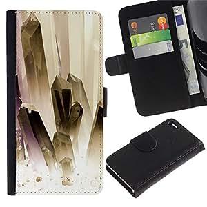 For Apple iPhone 4 / iPhone 4S,S-type® Painting White Gold Jewels Clean - Dibujo PU billetera de cuero Funda Case Caso de la piel de la bolsa protectora