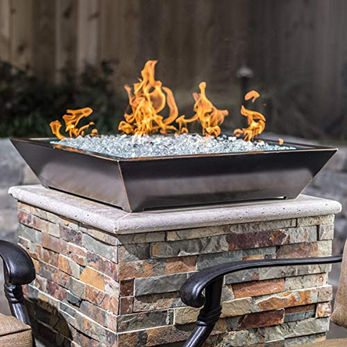 (Lakeview Outdoor Designs Westfalen 24-Inch Square Low-Rise Natural Gas Column Fire Bowl - Oil Rubbed Bronze)