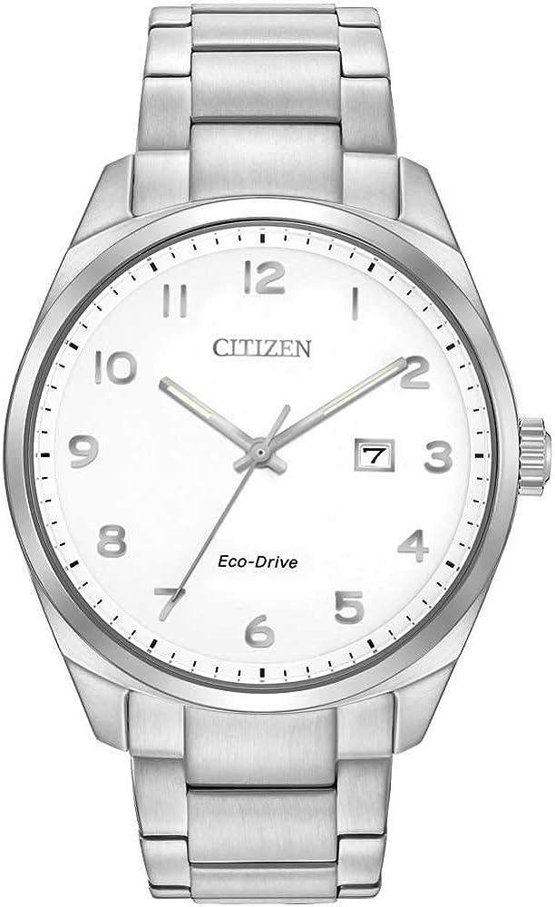 Citizen Reloj WR100Hombre Solar Reloj con Pulsera de Acero Inoxidable en Plata y Color Blanco Esfera analógica Pantalla bm7320–87B–