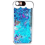 Mingus Glow in the Dark Star Quicksand Case for Apple iPhone 6 Plus/6S Plus 5.5 inch, Incoming Flash Light Noctilucen Luminous Fluoresent Glitter Quicksand Liquid Hard Plastic Cover Shell - Blue