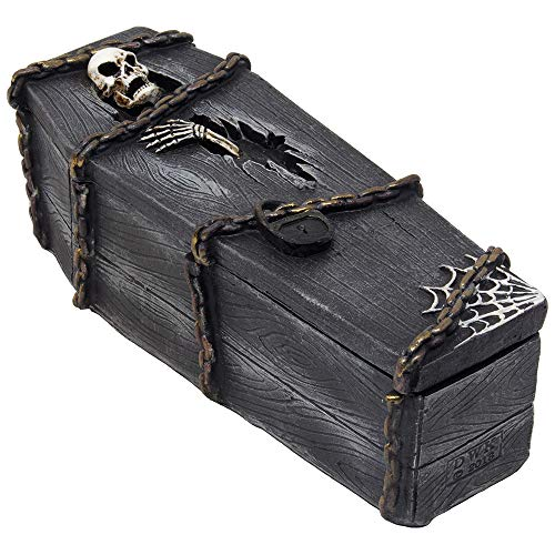 Scary Skeleton in Coffin Trinket Box for Storage of Jewelry or Stash As Spooky Halloween Decorations or Decorative Evil Skull Gothic Decor Gifts for Women and Men -