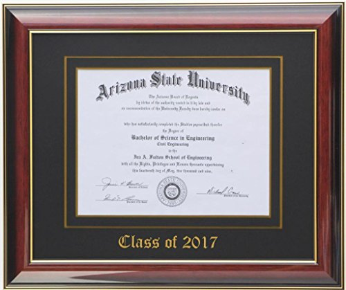 Diploma Frame 8x6 Mahogany/Black 2017 (Customizable)