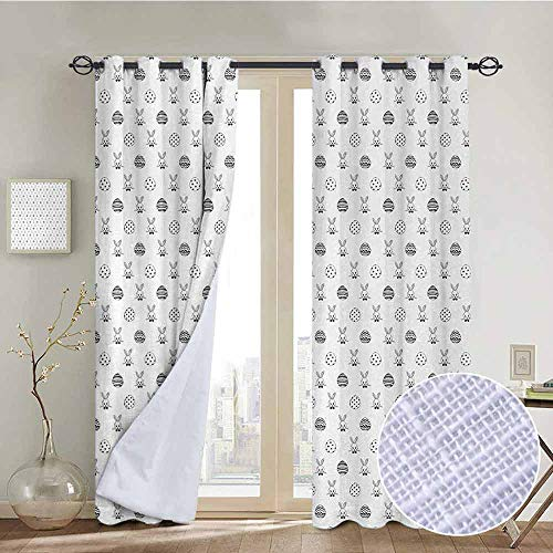 "NUOMANAN Bedroom Curtain Easter,Black and White Pattern Hand Drawn Style Rabbits with Bowties and Patterned Eggs,Black White,Insulating Room Darkening Blackout Drapes 100""x96"""
