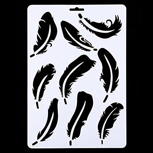 HuntGold Hollow Feather Wall Painting Stencil Drawing Template Tool DIY Craft for Pigment Stamp Scrapbooking Card Making Home Furniture Decor ()
