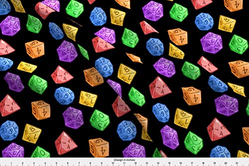 Spoonflower Dungeons and Dragons Fabric - Dungeons and Dragons D20 Dice Geek Tabletop RPG Geeky Pride Rainbow Geek - by Sweetingenuity Printed on Cotton Spandex Jersey Fabric by The Yard (Cotton Jersey Rainbow)