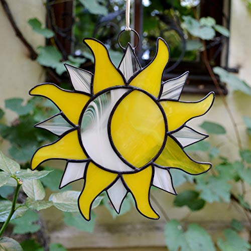 ZangerGlass Sun and Moon Stained Glass Suncatcher Yellow White for Window Hanging or Wall ()
