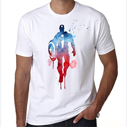 Iron Man Suit Real For Sale (AmonKui Avengers T Shirt Ironman Captain America Iron Men Black Widow Marvel T-Shirt Super Hero Custom Made Print Tee Shirt 4 Asian L)