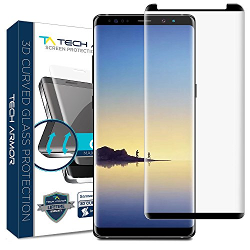 Samsung Galaxy Note 8 Glass Screen Protector from Tech Armor, 3D Curved Ballistic Glass, CASE-FRIENDLY, Black – [1-Pack]