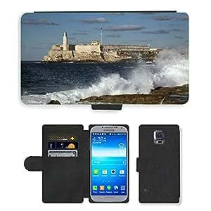 CARD POCKET BOOK CASE PU LEATHER CASE // M00421263 Morro Castillo Fortaleza Histórico // Samsung Galaxy S5 S V SV i9600 (Not Fits S5 ACTIVE)
