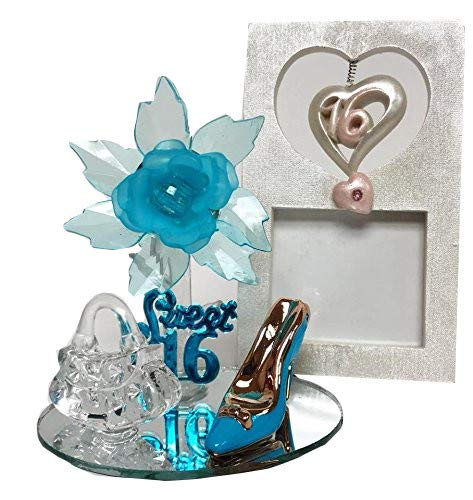Turquoise Sweet 16 Motive Turquoise Acrylic Flower with High Heel Shoe Purse Gift Keepsake 5 ct with Picture Frame
