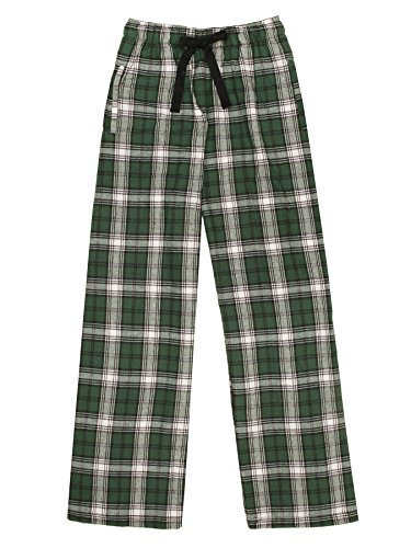 Ultra Soft Unisex Youth 100% Cotton Flannel Pants – Green/White, Medium