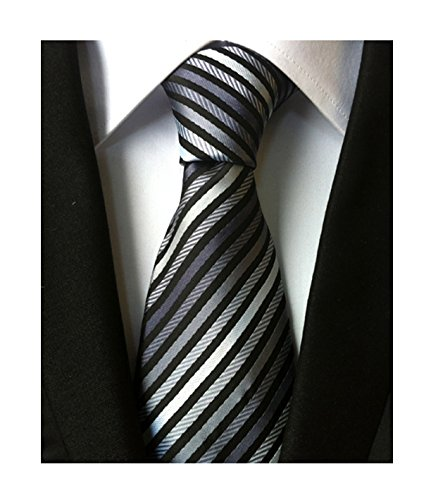 Silk Silver Black Stripe - Men's Boys Fine Stripe Grey Black Jacquard Woven Silk Tie Formal Wedding Necktie