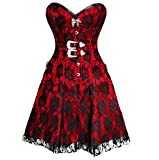 Fully Spiral Steel Boned Red Satin Gothic Overbust Long Corset Dress-34 offers