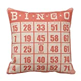 Zazzle Vintage Bingo Card Game Room Throw Pillow 16'' x 16''