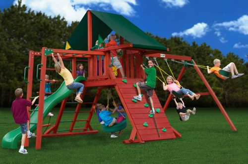 Gorilla Playsets Sun Climber II Swing Set with Sunbrella Canvas Canopy
