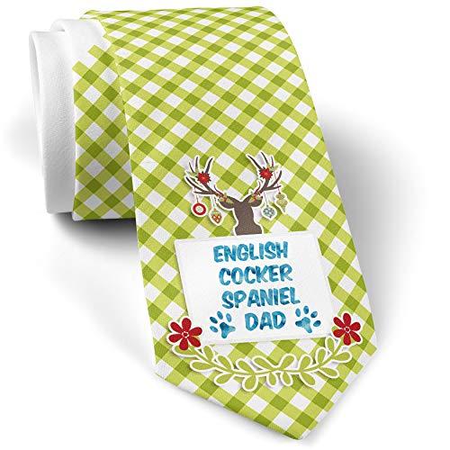 Green Plaid Christmas Neck Tie Dog & Cat Dad English Cocker Spaniel gift for men