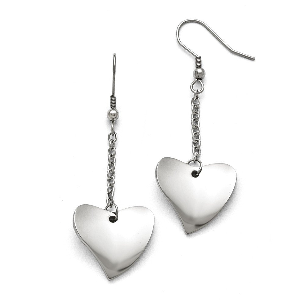 Perfect Jewelry Gift Stainless Steel Polished Heart Earrings