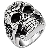 PAURO Unisix's Stainless Steel Skull Flower Ring, Gothic Biker Style Silver Black Size 7
