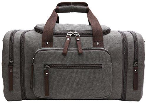 Large Weekend (Nornou Large Capacity Weekend Bag Oversized Canvas Travel Duffel Bag Luggage Case Grey)