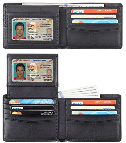 Travelambo Genuine Leather RFID Blocking Wallets Mens Wallet Bifold Classic (black napa)