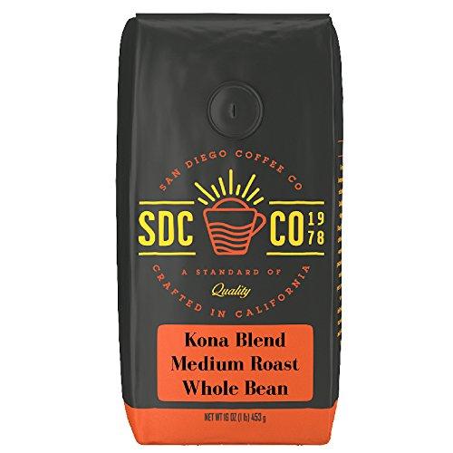 San Diego Coffee Kona Mix, Medium Roast, Whole Bean, 16-Ounce Bag