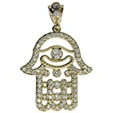 CZ Genuine Stamped Authentic 10K Yellow Gold Charm Pendant Hip Hop Jewelry Gift Present (Hamsa Hand)