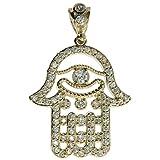CZ Genuine Stamped Authentic 10K Yellow Gold Charm Pendant Hip Hop Jewelry Gift Present (Hamsa Hand)
