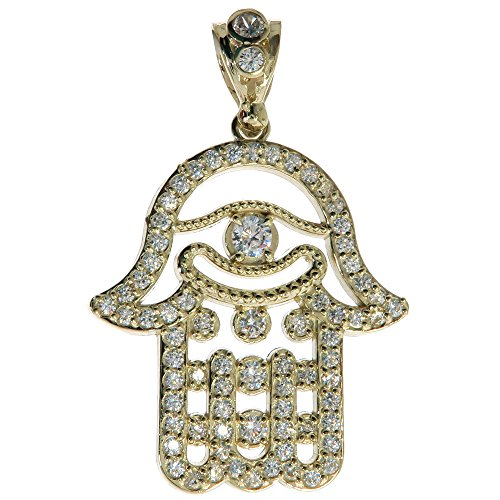 CZ Genuine Stamped Authentic 10K Yellow Gold Charm Pendant Hip Hop Jewelry Gift Present (Hamsa Hand) by Traxnyc