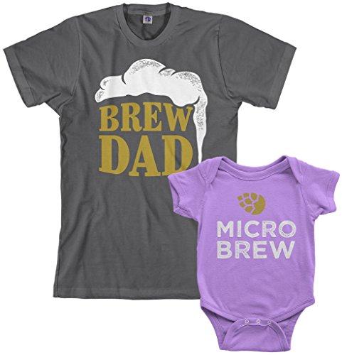 Threadrock Brew Dad & Micro Brew Infant Bodysuit & Men's T-Shirt Matching Set (Baby: 6M, Lavender|Men's: 3XL, Charcoal)