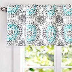 "DriftAway Bella Medallion Pattern Room Darkening Window Curtain Valance, 52""x18"", Aqua/Gray, Rod Pocket"